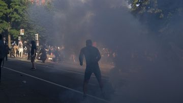 A protester is shrouded in tear gas in Lafayette Park, Washington DC.