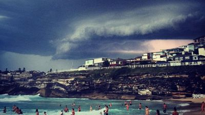 Dark clouds over the southern end of Bondi Beach