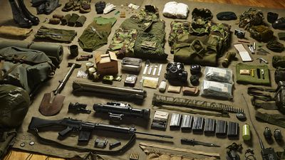 Heavier still was the kit carted around by a royal Marine Command during the 1982 Falkland war, complete with a disposable anti-tank rocket, entrenching tool and night-fighting equipment.