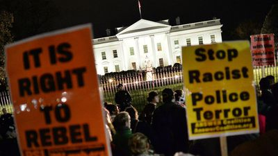Protesters in Washington DC as protests crop up across the USA in response to the Grand Jury's decision. (Getty Images)