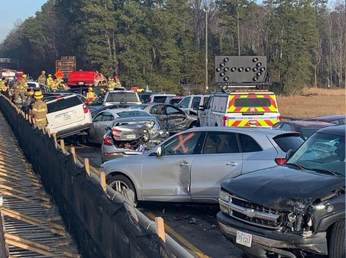 The cars crashed in a chain reaction on I-64 in eastern Virginia on Sunday morning (local time) because of fog and ice, authorities said.