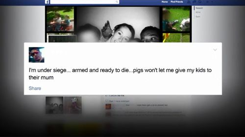 The 28-year-old posted online he was 'armed and ready to die'. (9NEWS)