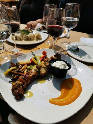 Greek souvlaki served with authentic tzatziki.