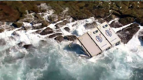 Mangled shipping containers are washing up on the NSW Central Coast.