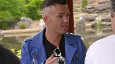 Anthony Callea helps clear the air between Camilla Franks and Ross Noble