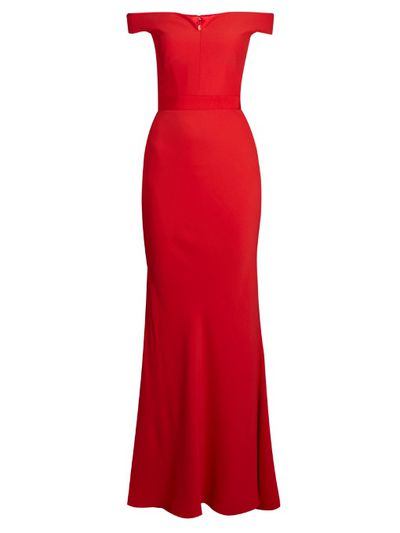 "Alexander McQueen red gown, $3366 at <a href=""http://www.matchesfashion.com/au/products/Alexander-McQueen-Off-the-shoulder-crepe-gown-1077407"" target=""_blank"">Matches</a><br />"