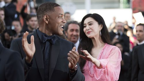 Fan Bingbing with Will Smith at the 70th Anniversary of the Cannes film festival, southern France.