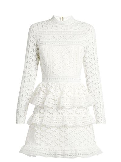 "<p><a href=""http://www.matchesfashion.com/au/products/Self-portrait-High-neck-star-lace-tiered-mini-dress-1076846"" target=""_blank"">Self Portrait High-Neck Star-Lace Tiered Mini Dress, $354.</a></p> <p>When you absolutely positively must wear white - make it special. Think tiers, lace, embroidery and cut outs.</p>"