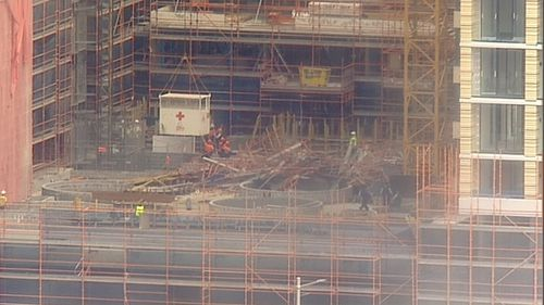 The scaffolding collapse is believed to have occurred inside the site.