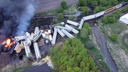 Train derailment and fire prompts evacuations in north-west Iowa