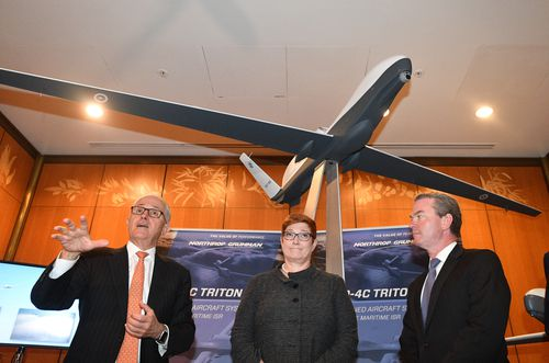 Prime Minister Malcolm Turnbull, Minister for Defence Marise Payne and Minister for Defence Industry Christopher Pyne announcing the $7 billion defence project at a press conference in Canberra today. Picture: AAP