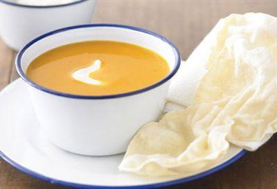 """Recipe:<a href=""""/recipes/ipumpkin/8360348/curried-pumpkin-and-apple-soup"""">Curried pumpkin and apple soup</a>"""