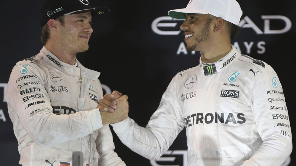 Nico Rosberg (left) and Lewis Hamilton (right). (AAP)