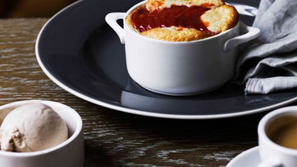 Quince clafoutis and chestnut ice-cream