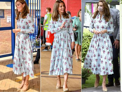 kate middleton style news kate middleton spotted in a blue long sleeve midi dress and matching floral face mask kate middleton style news kate