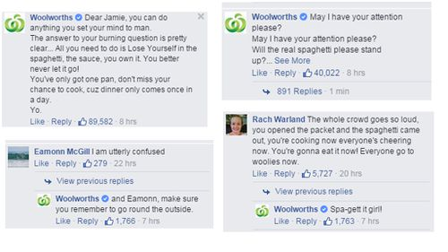 Woolworths posted a number of witty replies. (Facebook)
