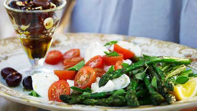 """Recipe:&nbsp;<a href=""""http://kitchen.nine.com.au/2016/05/16/19/14/barbecued-asparagus"""" target=""""_top"""">Barbecued asparagus</a>"""