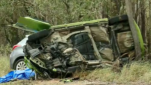 The Holden struck a Honda Jazz, which flipped and struck a tree before being hit by another car.