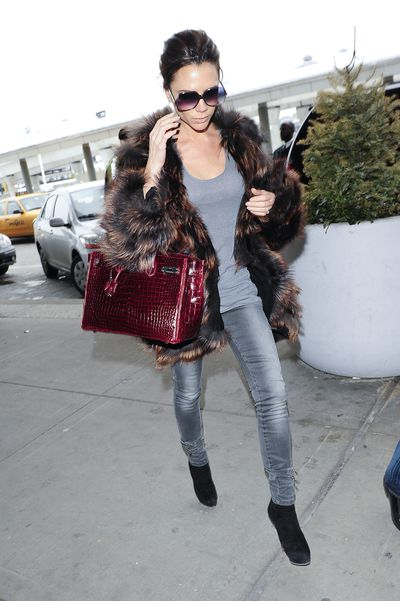 Victoria Beckham carrying an Hermes Birkin in New York City, February 2010