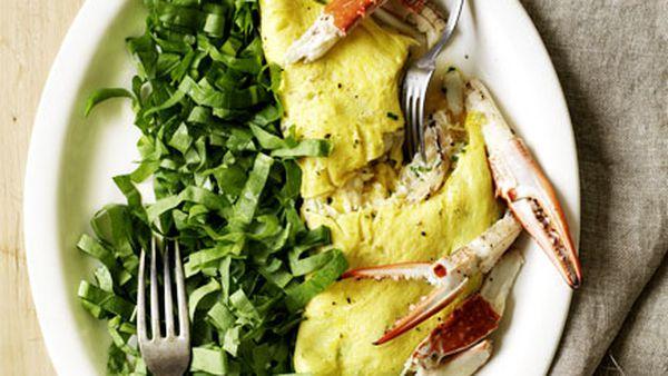 Blue swimmer crab omelette with sorrel