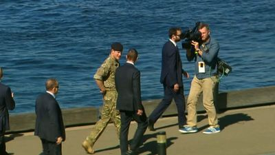 Captain Wales was greeted by NSW premier Mike Baird. (9NEWS)