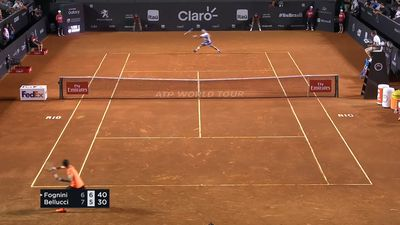 Fognini drops racket but wins set point