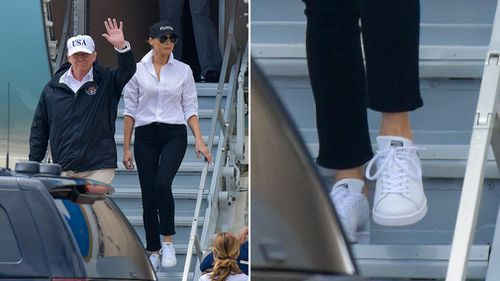 Mrs Trump donned sneakers prior to her arrival in Texas. (AAP)