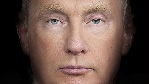 Donald Trump and Vladimir Putin's faces merged together on the Time cover. (Time)