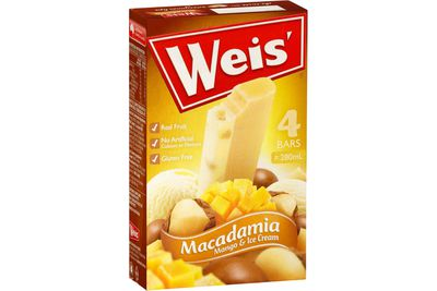 Weis Bar: Macadamia, Mango and Ice Cream 21g sugar — more than 5 teaspoons