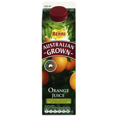 <strong>Berri Orange Juice Australian Grown = 9.3 grams of sugar per 100ml</strong>