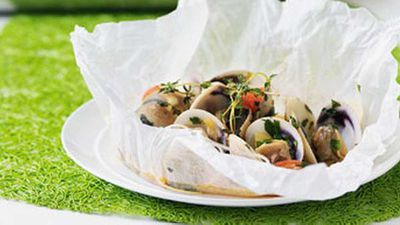 """Recipe:<a href=""""http://kitchen.nine.com.au/2016/05/17/12/44/clams-celery-cherry-tomatoes-in-a-parcel"""" target=""""_top"""">Clams, celery & cherry tomatoes in a parcel</a>"""