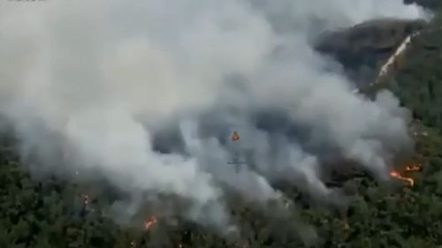 Reconnaisance flights by the NSW RFS show up to nine bushfires burning in remote bushland in the Blue Mountains. (NSW RFS)