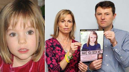 Missing British girl Madeleine McCann, and her parents Kate and Gerry.