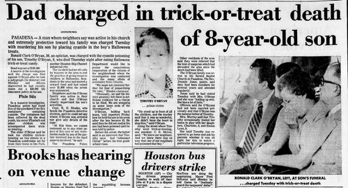 Ronald O'Bryan, a suburban Houston optician, shocked America when it was discovered he replaced some of the sugary powder inside five Giant Pixy Stix with enough cyanide to kill two or three grown men each.