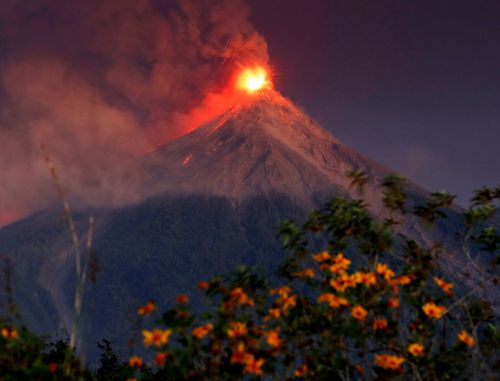 The dramatic eruption could be seen kilometres away.