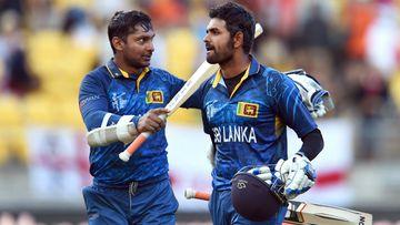 Kumar Sangakkara and Lahiru Thirimanne celebrate after hitting the winning runs against England. (Getty)