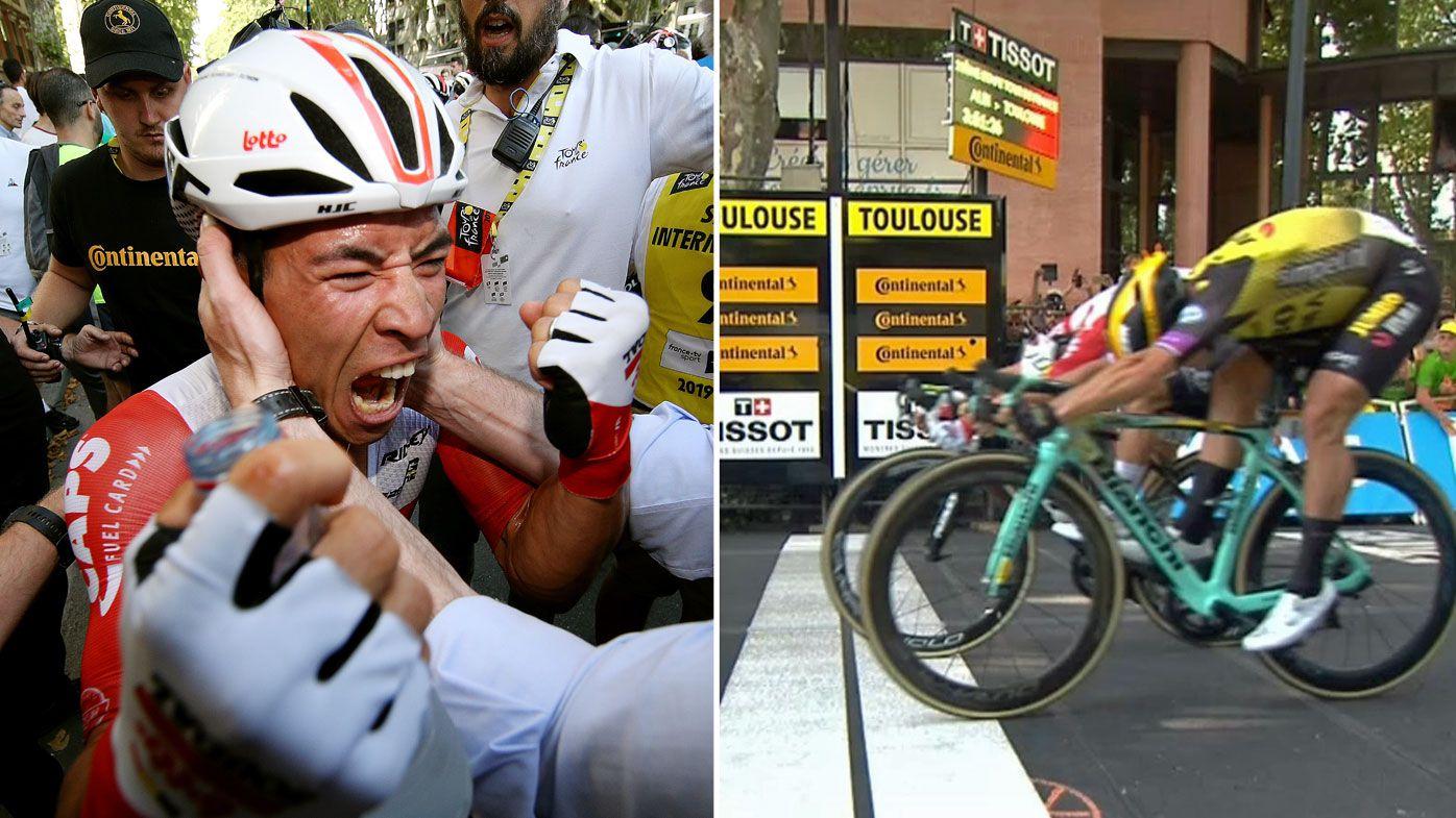 Ewan celebrates winning Stage 11 of the Tour de France