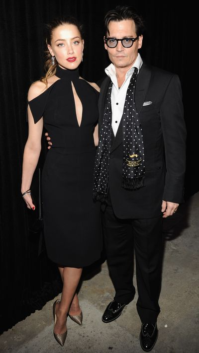 <p>With husband Johnny Depp in New York.</p>