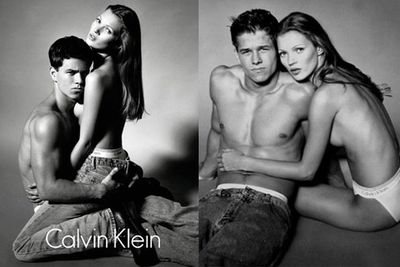 Before he was the well-endowed Dirk Diggler in <i>Boogie Nights</i>, Mark Wahlberg got his sexy on with Kate Moss for this iconic Calvin Klein campaign.