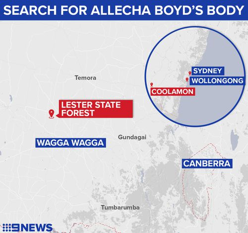 It is believed Allecha was last seen in a green Subaru on August 10 driving between Wagga Wagga and Coolamon, NSW. Picture: 9NEWS.