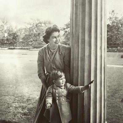 Prince Charles with his mother in 1950