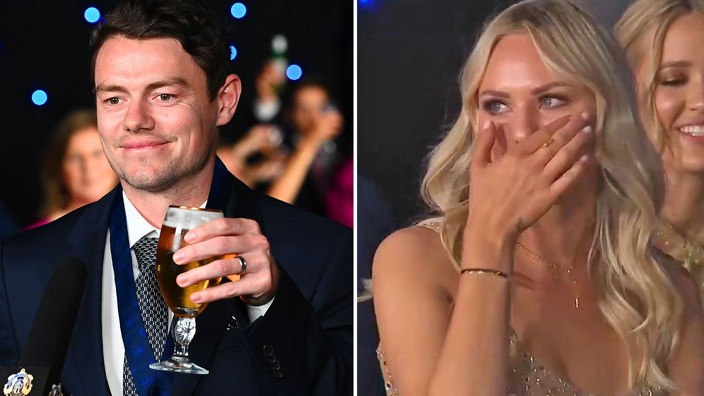 Lachie Neale and his wife Julie at the 2020 Brownlow Medal
