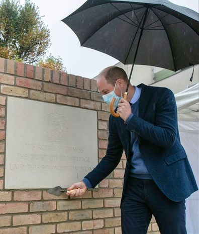 Prince William lays a ceremonial foundation stone at The Royal Marsden Hospital, Sutton, for the new Oak Cancer Centre on October 22, 2020