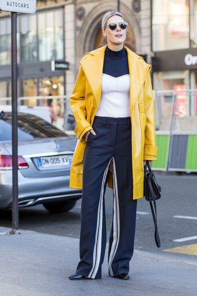 "Sofie Valkiers wearing Cedric Charlier coat and Saint Laurent bag at <a href=""http://honey.nine.com.au/2016/10/04/08/55/stella-mccartney-paris-runway-2017-dancing"" target=""_blank"">Stella McCartney</a> show, Paris Fashion Week"