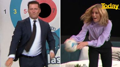 The hosts went head-to-head in a race against the clock across mattresses and other furniture.