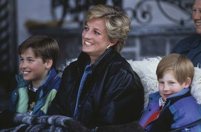 Princess Diana with William and Harry during a ski trip in 1993.