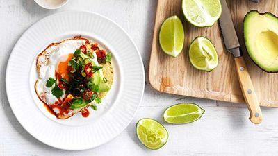 "Recipe:&nbsp;<a href=""http://kitchen.nine.com.au/2016/05/16/12/16/fried-egg-avocado-and-chilli-tacos"" target=""_top"" draggable=""false"">Fried egg, avocado and chilli tacos</a>"