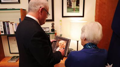Scott Morrison with his mum, holding a picture of his late dad on his birthday May 13, 2020