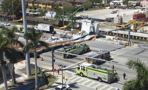 The pedestrian bridge collapsed at Florida International University. (Supplied)