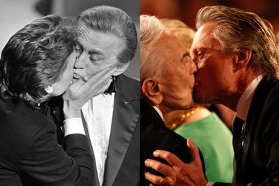 Father-son awards show kisses are par for the course for Kirk and Michael. That's how the Douglas family rolls!